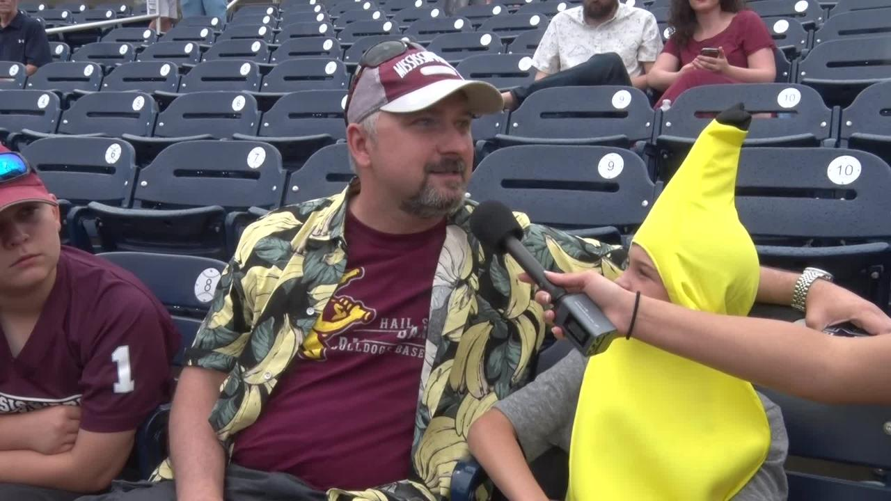 Mississippi State fans embrace the rally banana and the Omaha experience