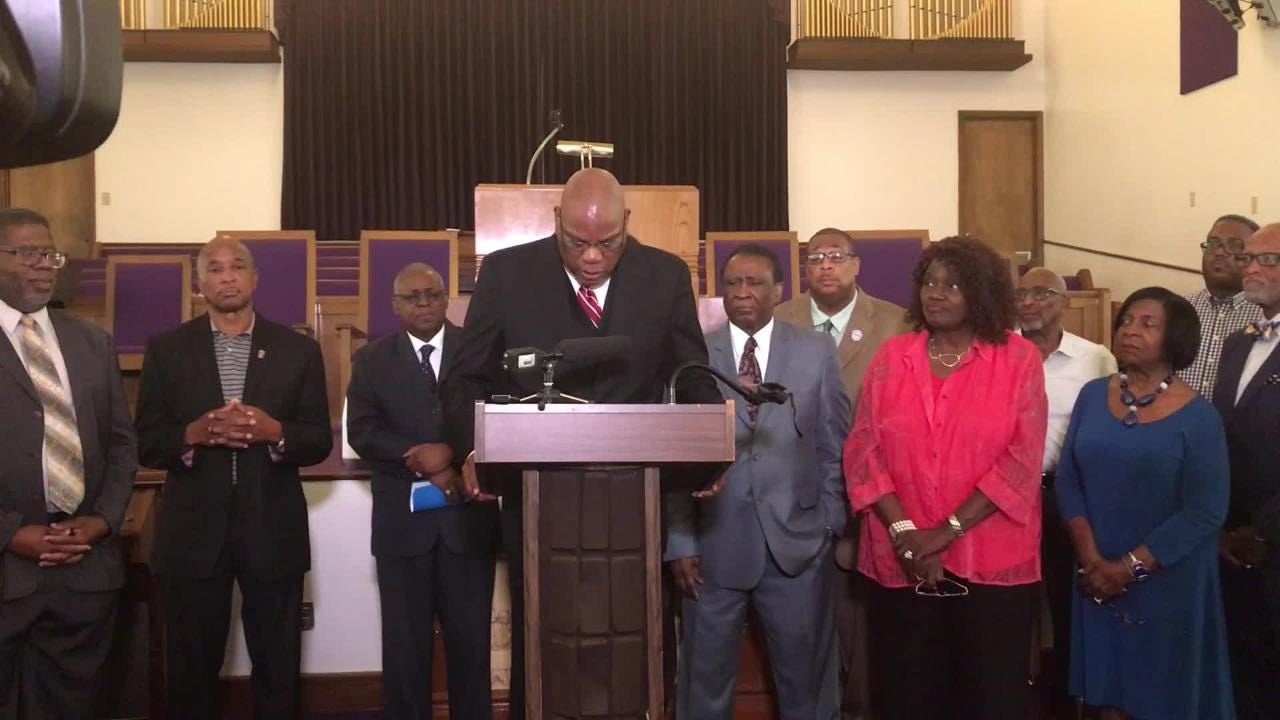"Rev. R. B. Holmes and other faith and  community leaders speak out against the Trump administration's ""zero tolerance"" policy that separates families."