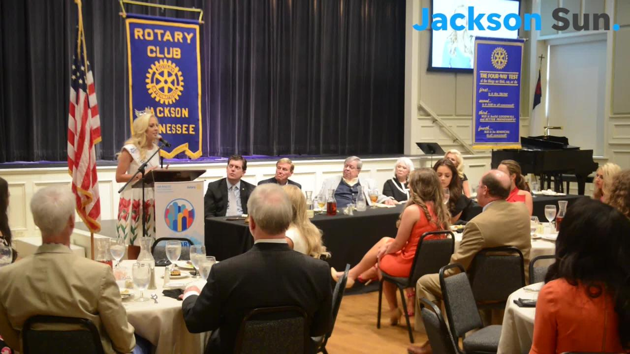 Jackson Rotary Club President Dave Bratcher talks about the importance of their Miss Tennessee contestants' luncheon each year.