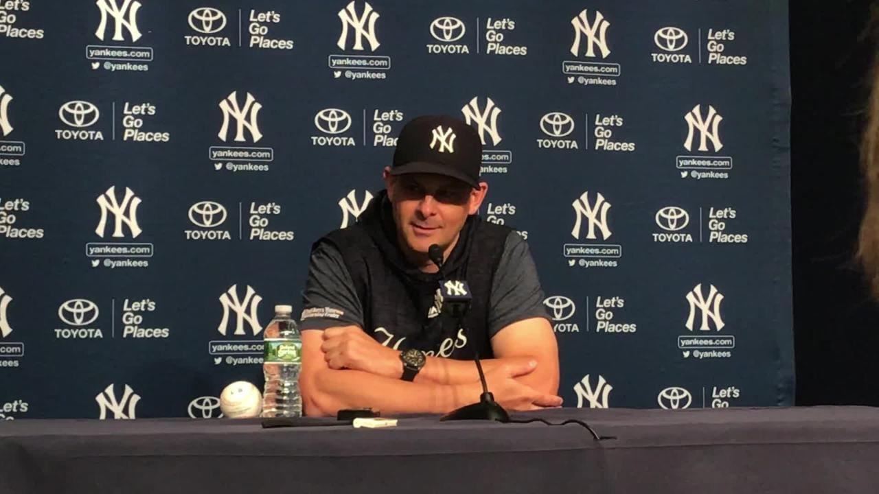 Yankees manager Aaron Boone talks about the decision to leave Brett Gardner out of the lineup against the Seattle Mariners on Wednesday.