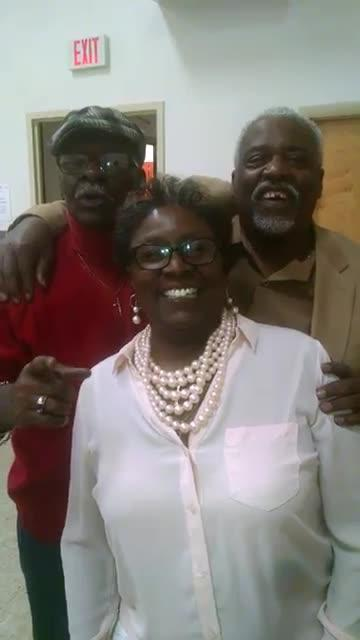 Ron Gilliam, right, shares a moment with his brother, Dan Gilliam, and sister, Liz Mayo-Gilliam, in 2017. Video provided by Dan Gilliam.