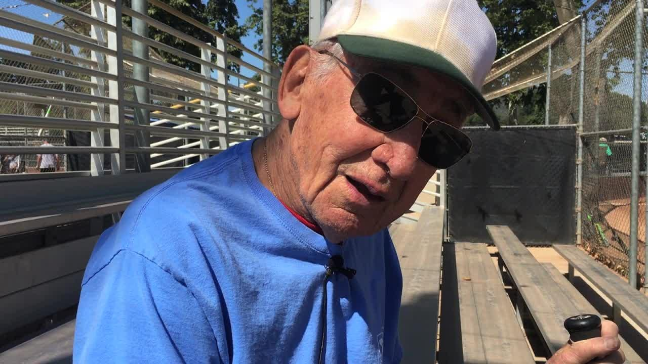 90-year-old Arthur Aiello started playing senior softball about 25 years ago. With any luck, he'd like to keep playing until he reaches 100.