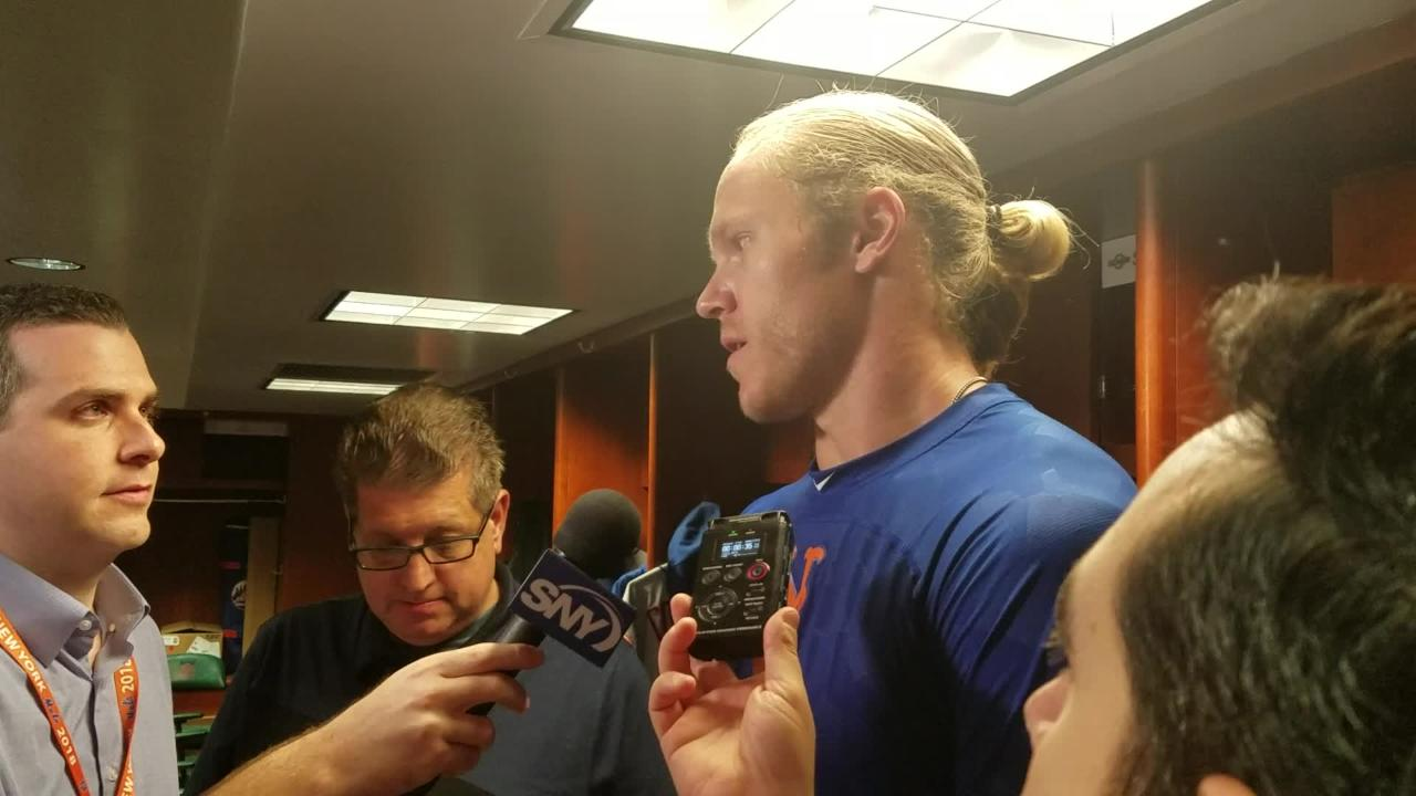 Noah Syndergaard discusses his status while he recovers from a right index finger strain