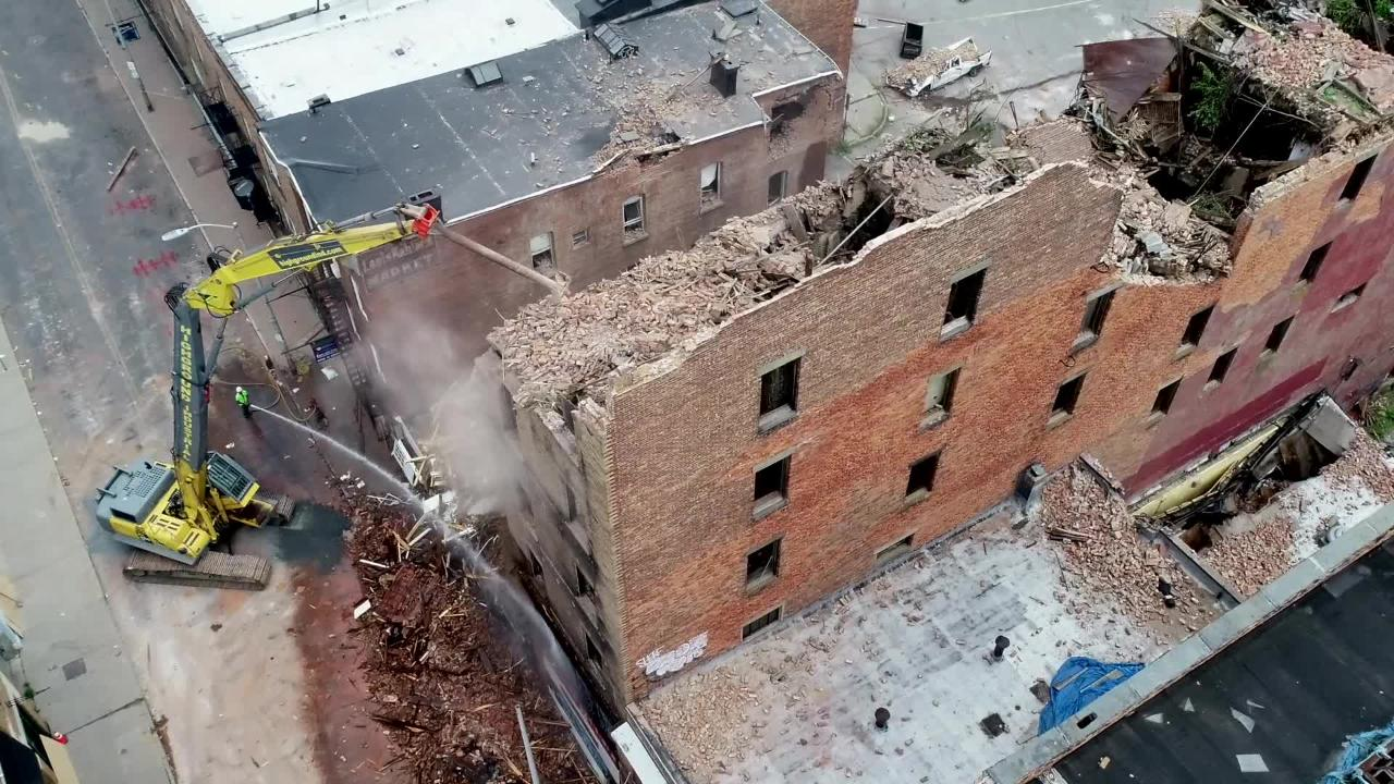 Demolition crews work to take down a collapsed building at 17 Academy St. in Poughkeepsie Wednesday,  June 20, 2018. Video by Peter Carr & John Meore/Poughkeepsie Journal