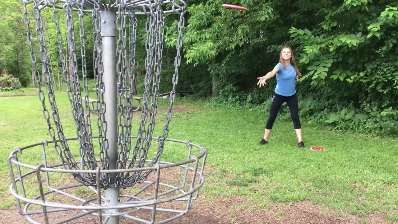 Remember the Frisbee?  Disc golfers use a distant cousin to play a game related to golf.