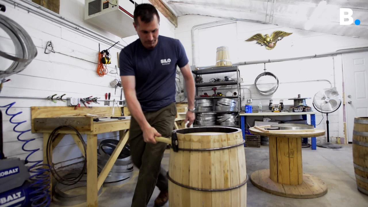 Green Mountain Grain & Barrel makes barrels for aging whiskey and other liquors, working out of renovated milk parlor in Richmond, Vermont.