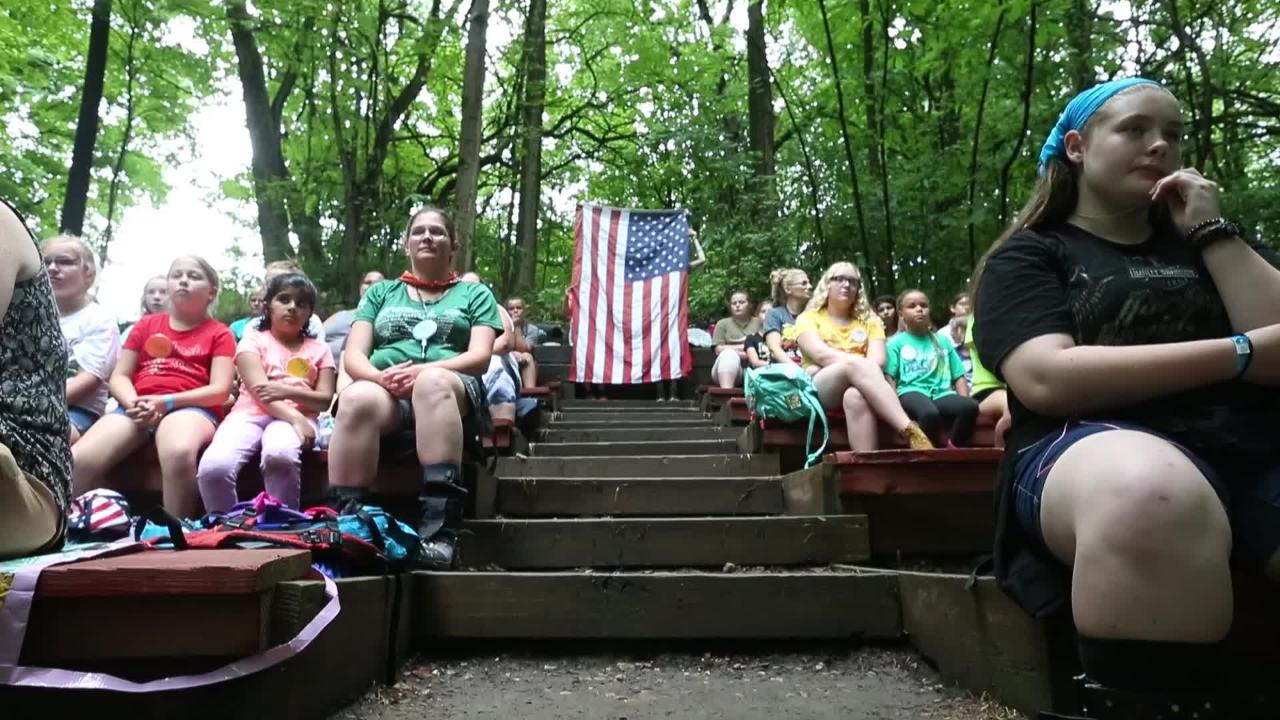 Girl Scouts of Central Indiana retire seven flags at Camp Dellwood on Thursday, June 21, 2018.