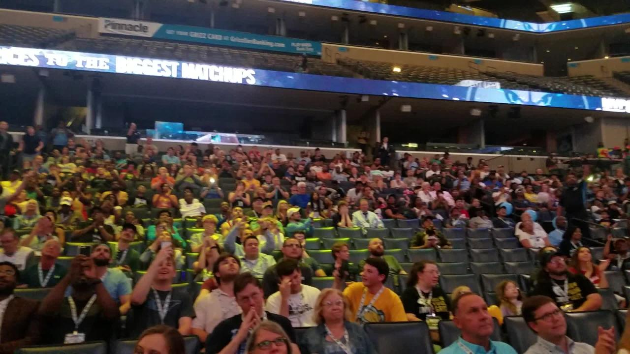 Grizzlies fans attending an NBA draft watch party at FedExForum react to the selection of first-round pick Jaren Jackson Jr.
