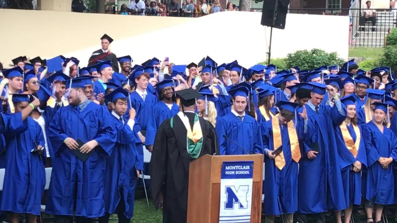 Raw video of Montclair High School seniors at the end of the June 21 commencement ceremony officially celebrating their status as graduates.