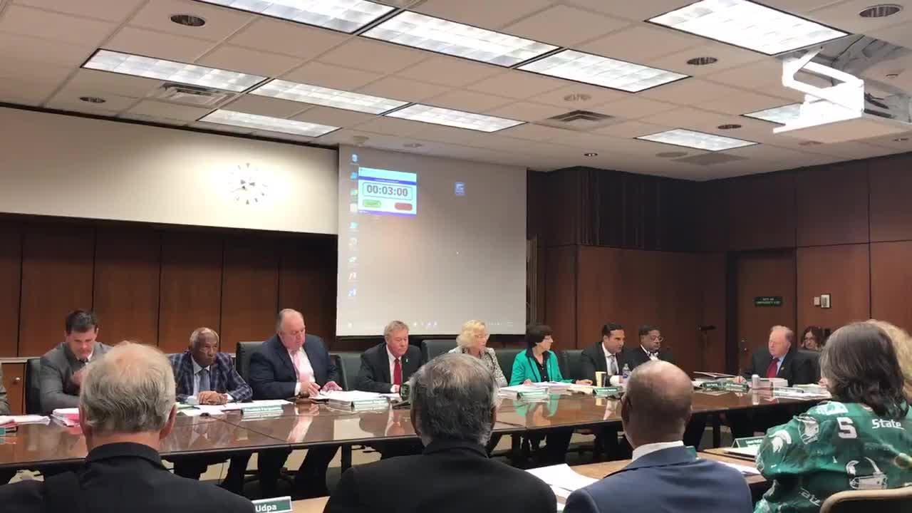 Michigan State University Board of Trustees hold regular meeting on June 22. Brian Mosallam called for a vote to dismiss interim president John Engler.