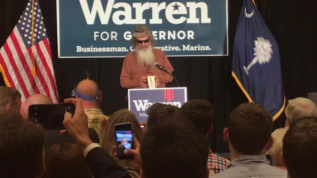 Phil Robertson, patriarch of the Duck Dynasty reality TV family, speaks to supporters of John Warren for governor in Greenville on Thursday.