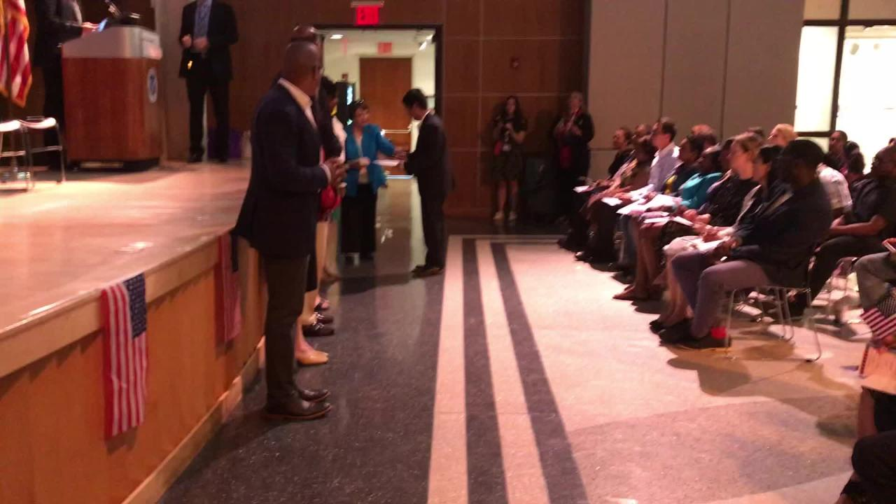 Raw video of men and women from 17 countries on June 22 becoming citizens of the United States in a ceremony in the Montclair Art Museum.