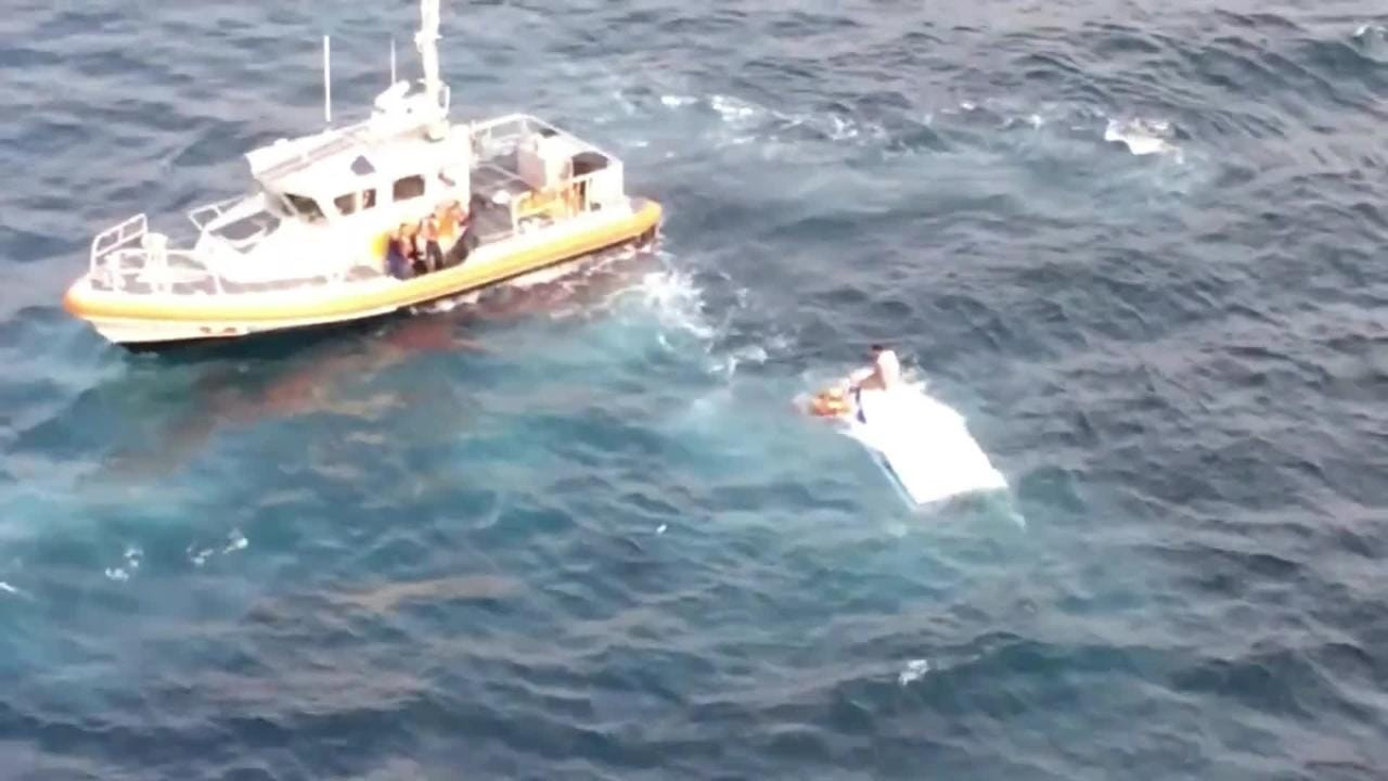 The Coast Guard rescued three people after a boat capsized off Anacapa Island.