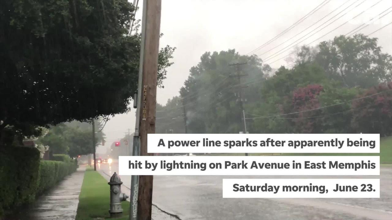 A power line in Park Avenue sparks and burns after storms rolled through the area on Saturday morning.