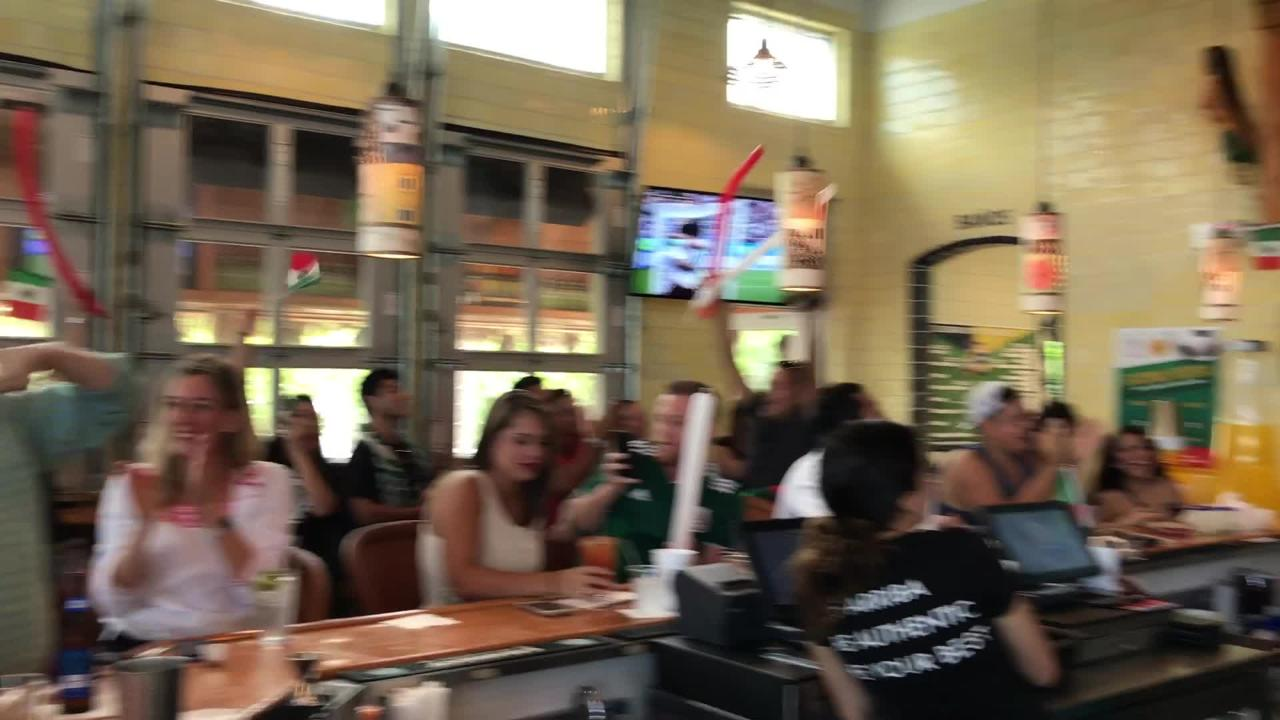 Fans react at Felipe's Taqueria in Naples to Mexico's first goal on Saturday, June 23, 2018.
