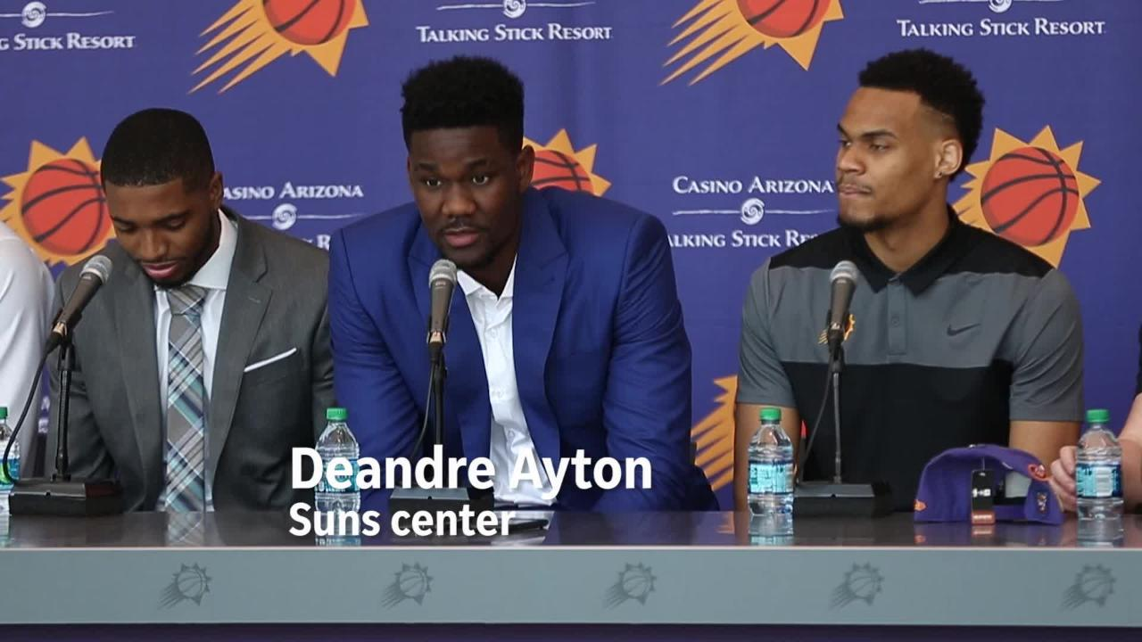 Deandre Ayton, Mikal Bridges, Elie Okobo and George King talk inside Talking Stick Resort Arena about their upcoming season.