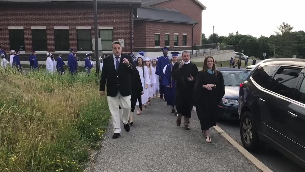 Two Millbrook High School graduates discuss their feelings on moving to the next stage of life Friday.
