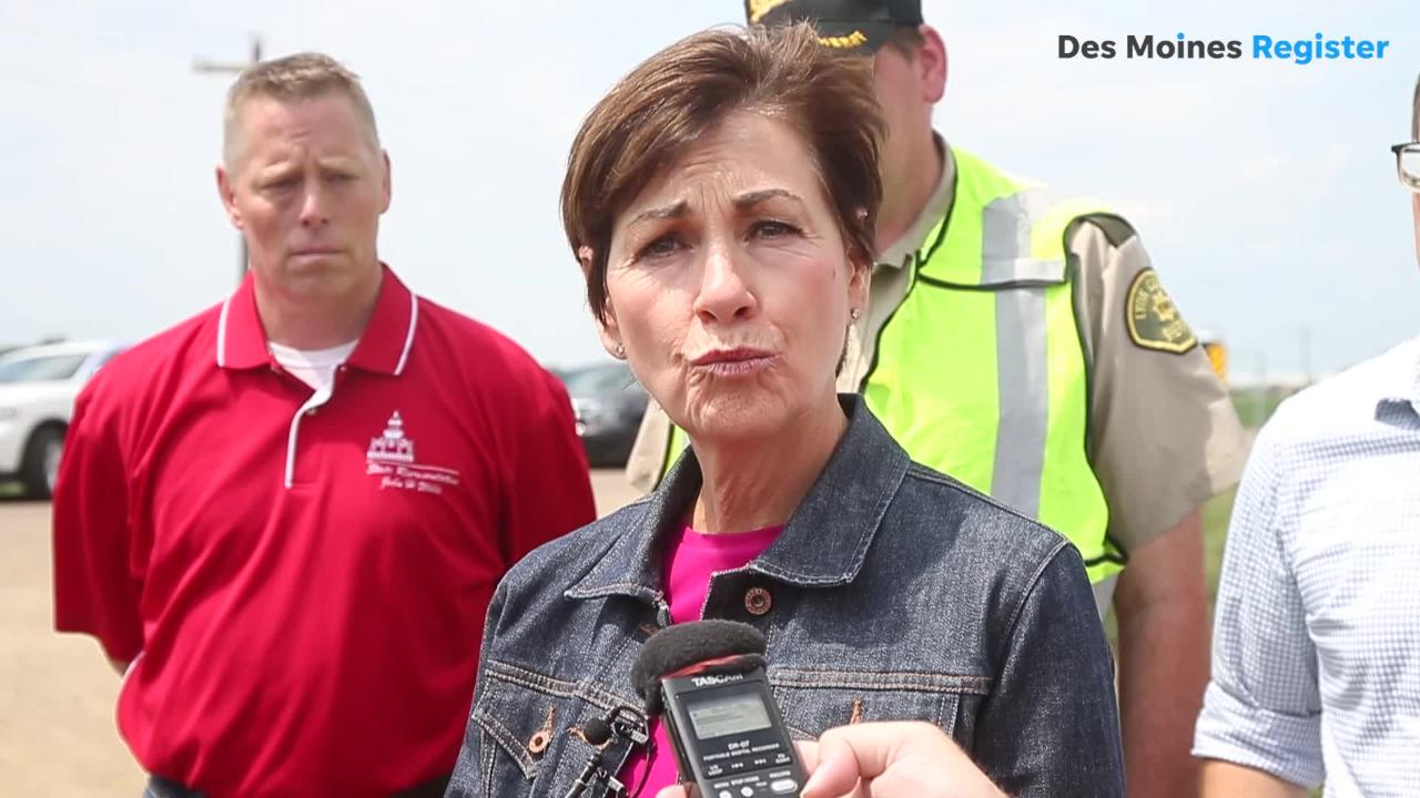 Iowa Gov. Kim Reynolds toured the areas of N.W. Iowa on Saturday that were hit hardest by the flood. She also visited the train derailment site.