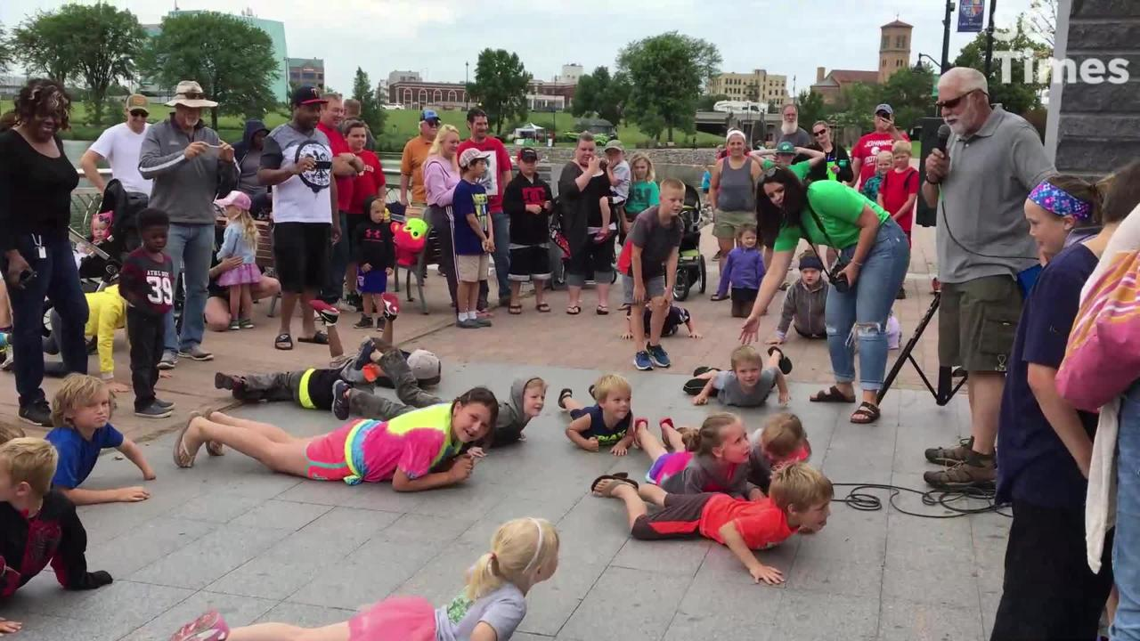 """As one of the Granite City Days events, kids competed in the """"crappie floppy"""" contest - showing their best fish flop for prizes - on Sunday."""