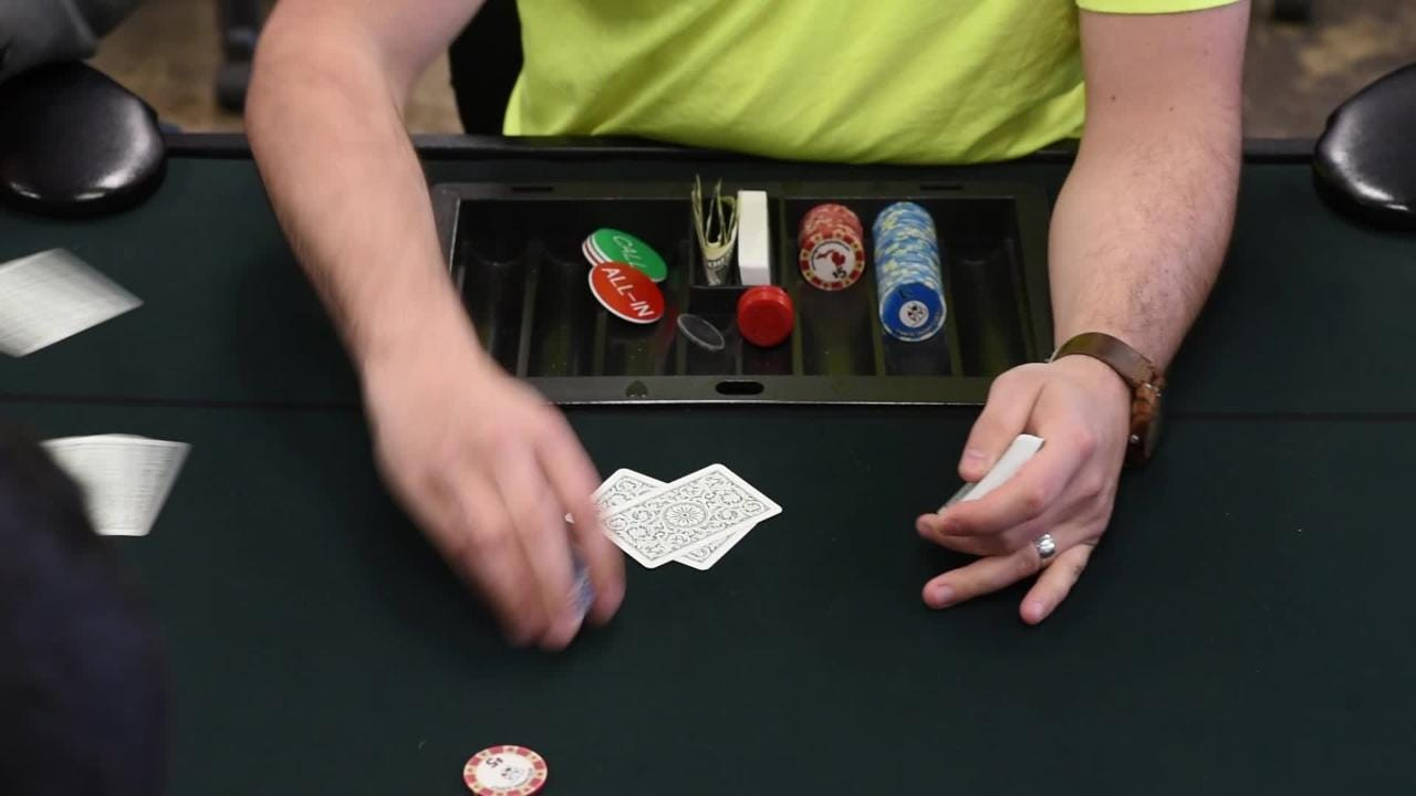 Event supplier Heather Schuchaskie talks about charity poker at The Event Spot in Delta Township.