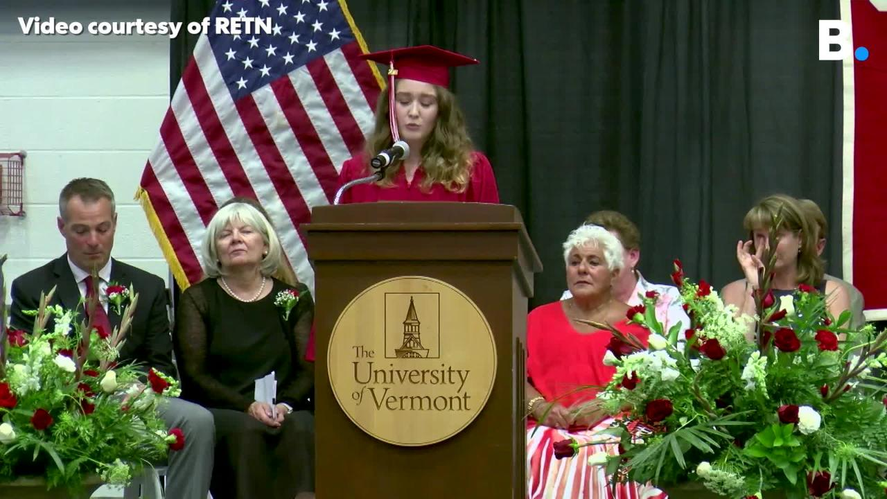 Willow Goldberg spoke at Champlain Valley Union's graduation on Friday, June 15, 2018, about her father's struggle with drug addiction and his death.