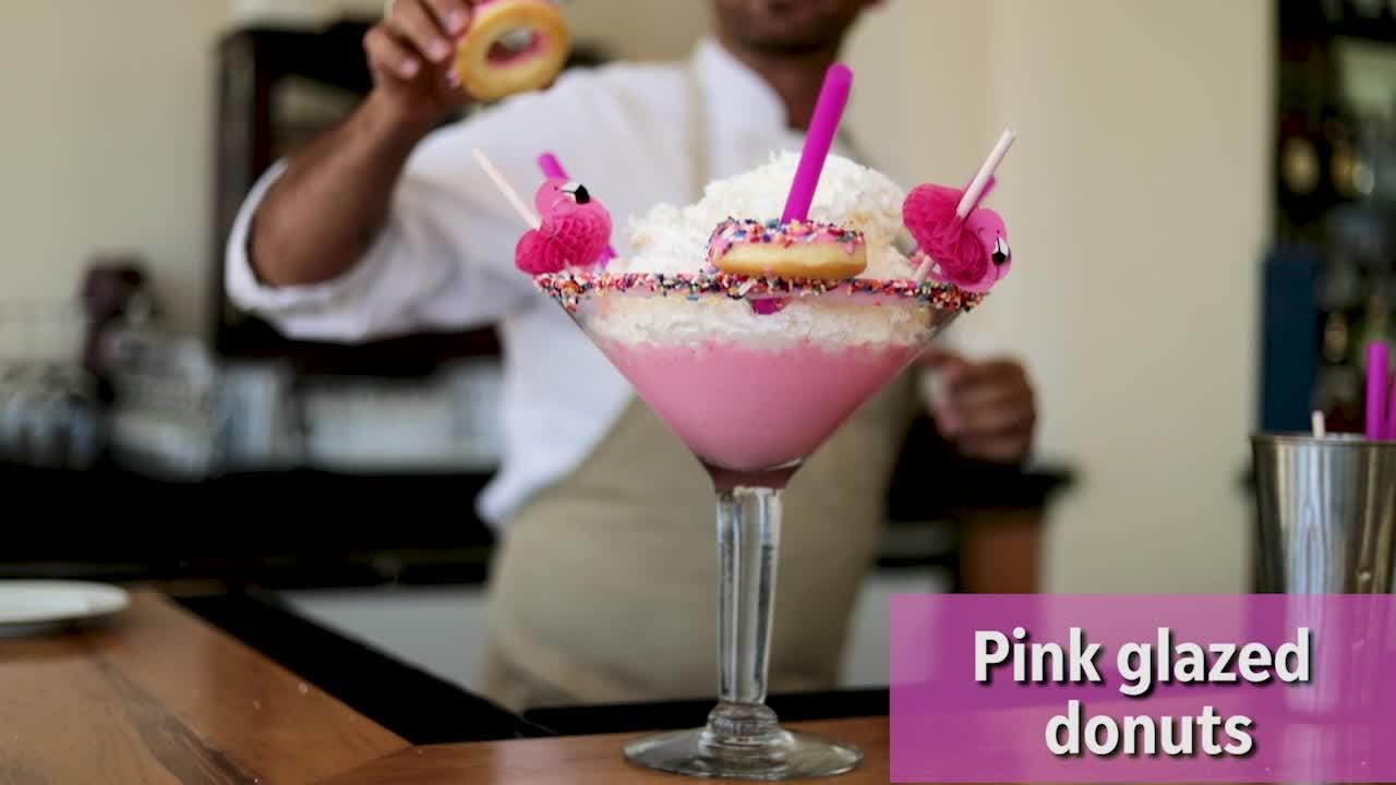 JW Marriott's latest craze is the Pink Flamingo Milkshake -- 40 ounces of strawberry ice cream and more. Watch as it is made.
