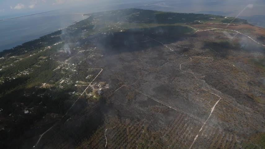 Our photographer took this video from a helicopter over Eastpoint in the aftermath of the wildfire.