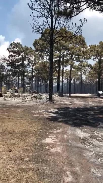 In video provided by Gulf County Fire Departments, a single home is seen standing around others that were destroyed by the Eastpoint fire.