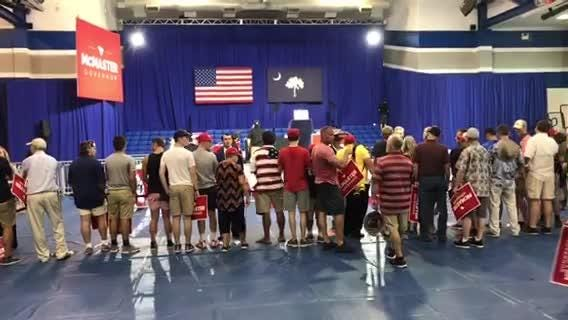 The lucky supporters for Gov. Henry McMaster and President Donald Trump are filing into Airport High School.