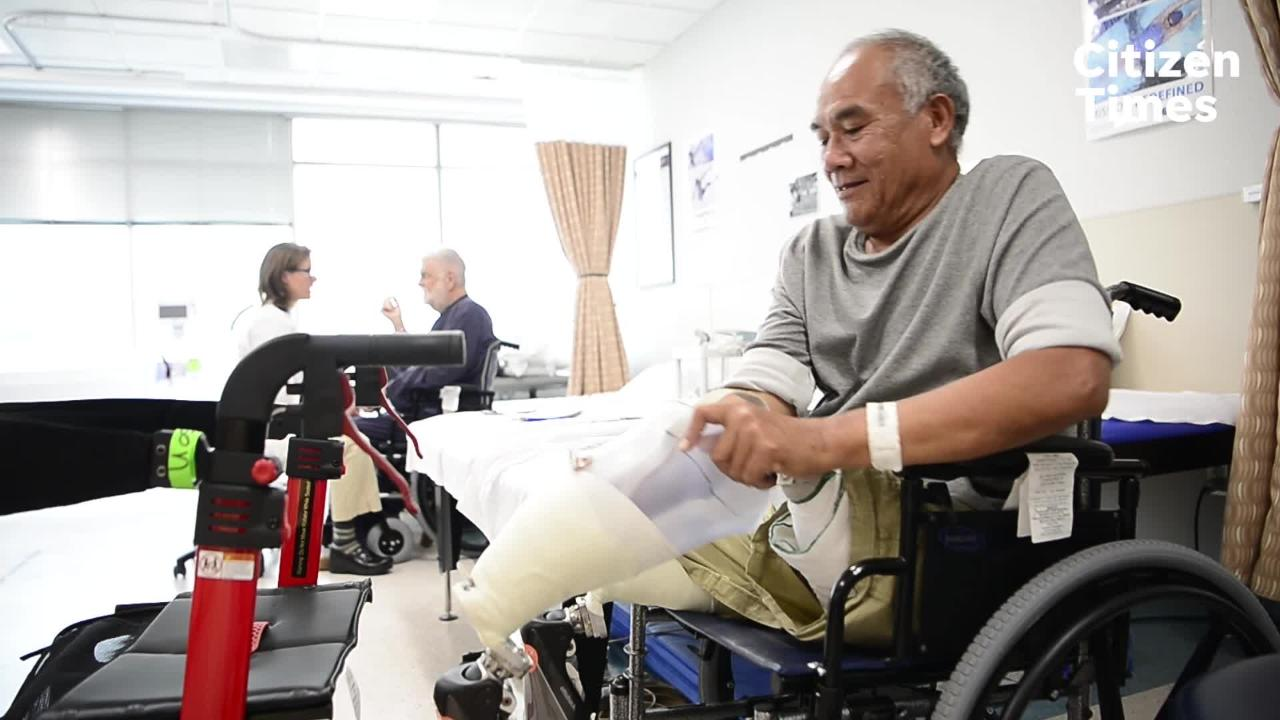 Chea Son, 68, a bilateral amputee who formerly worked for the U.S government, has been learning to use his prosthetic legs  at the Asheville VA