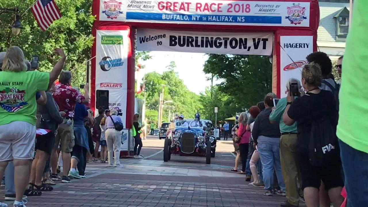 An old-school road race toured the center of Burlington, Vermont, on the way to Canada.