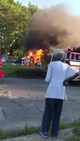 Detroit firefighters respond to a single-engine plane crash in Detroit.