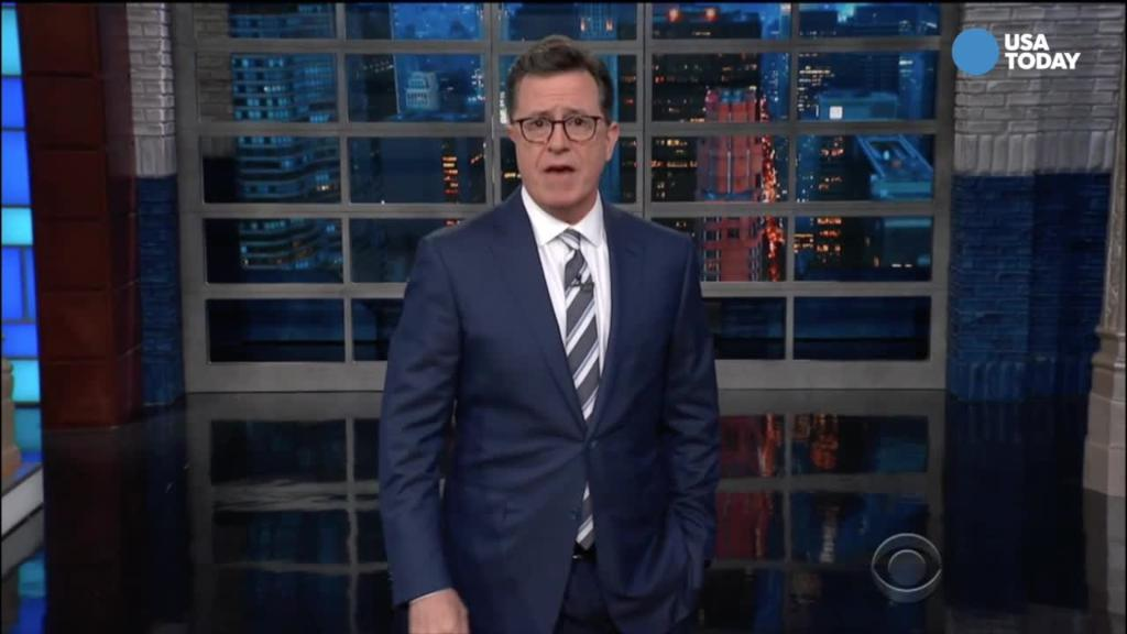 Colbert brings back Johnny Carson and more in response to Trump