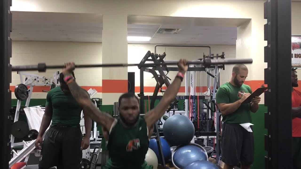 FAMU defensive back Orlando McKinley trains for the upcoming season by upgrading his weightlifting.