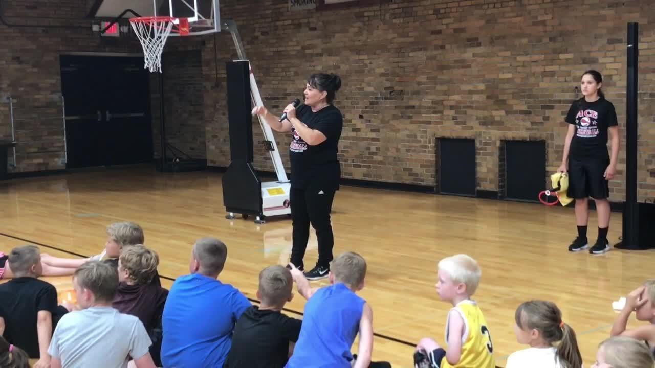 Ball-handling wizard Tanya Crevier performs at Granville Christian ...