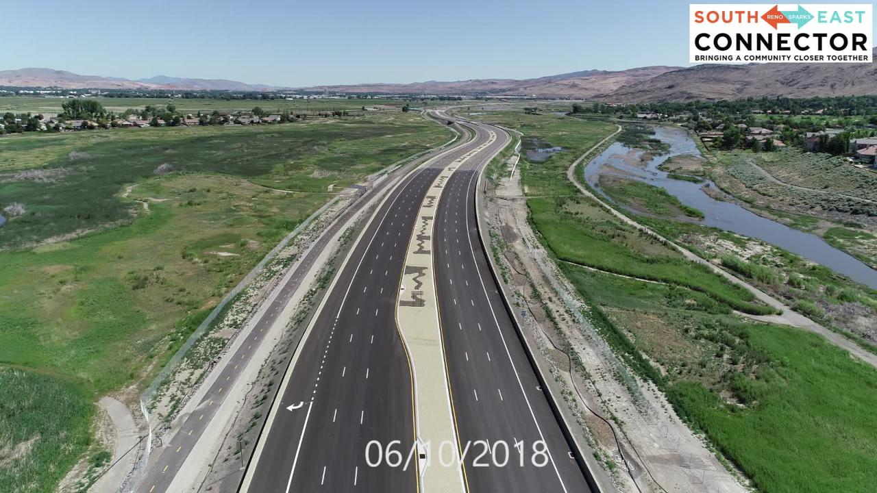 A June 10, 2018 flyover of the Southeast Connector shows an almost-compelted view of the new commuter route connecting Sparks and south Reno.