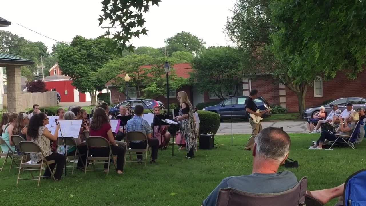 Eagle-Gazette reporter Jeff Barron plays an original piece with Fairfield County Strings and Keyboards. Barron wrote the piece for his wife.