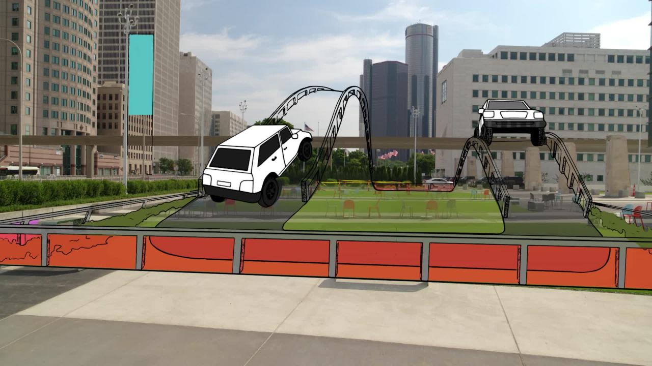 Video shows test tracks, off-road demo and other outdoor attractions at reimagined 2020 Detroit auto show.