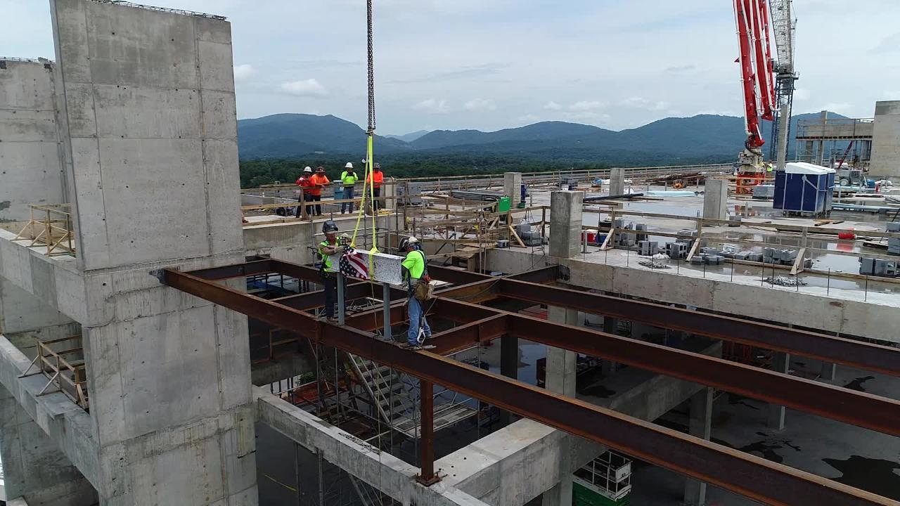 The final beams topped off the new Mission Hospital for Advanced Medicine on Thursday, June 28, 2018.