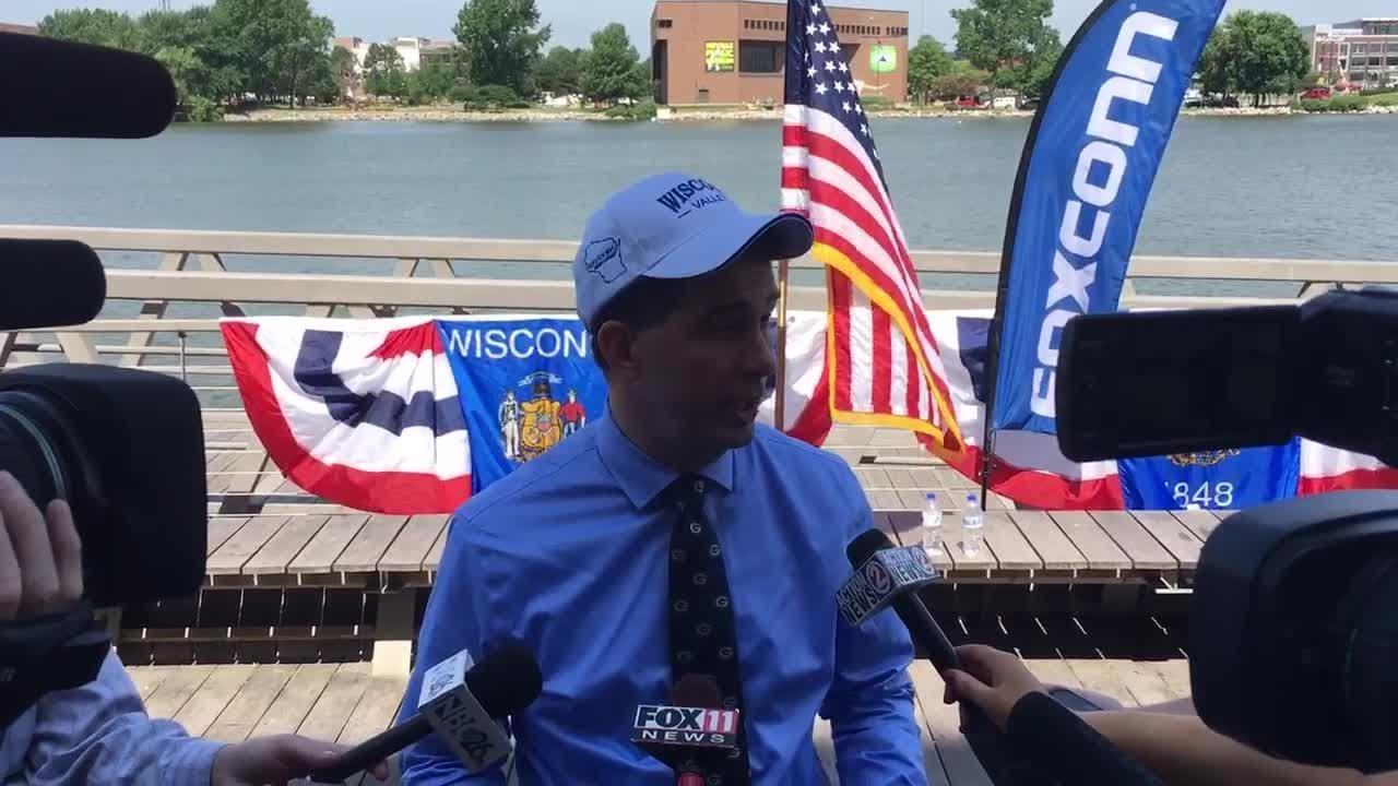 """Gov. Scott Walker talks about the Foxconn """"ripple effect"""" in Wisconsin."""