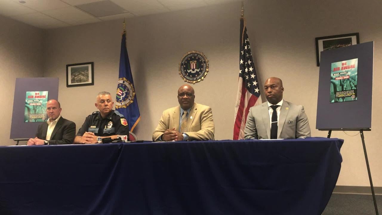 FBI El Paso Special Agent in Charge Emmerson Buie Jr. and other law enforcement officials discuss a campaign to stop sexual assaults on planes.