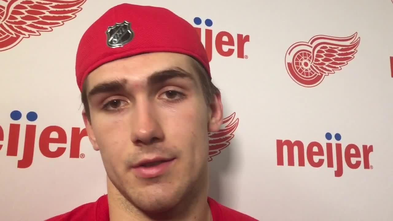 Red Wings prospects Filip Zadina and Michael Rasmussen on development camp finale. June 30, 2018 at Little Caesars Arena.