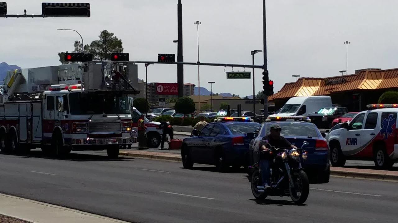 The vehicle-pedestrian crash stalled traffic at the Lohman Avenue-Walton Boulevard intersection on Tuesday, July 3 in Las Cruces.