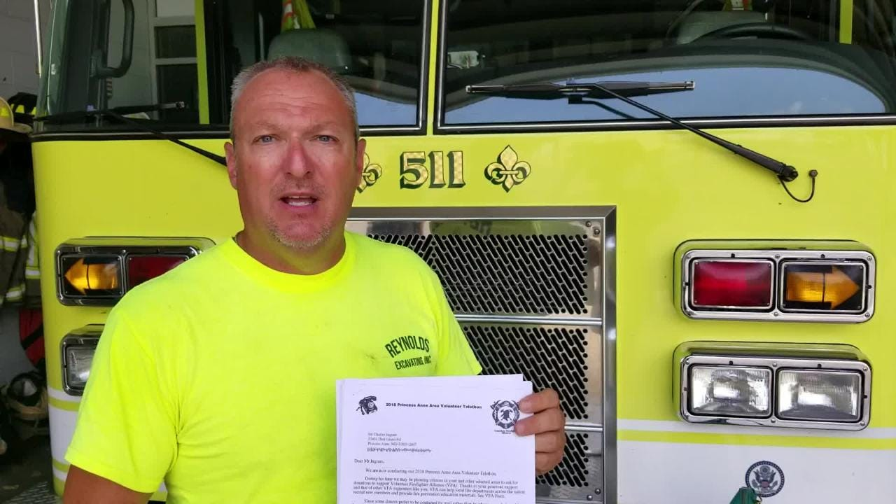 Princess Anne Volunteer Fire Company's deputy chief, Kenny Walston, explains how to spot the fundraiser that police have called a scam.