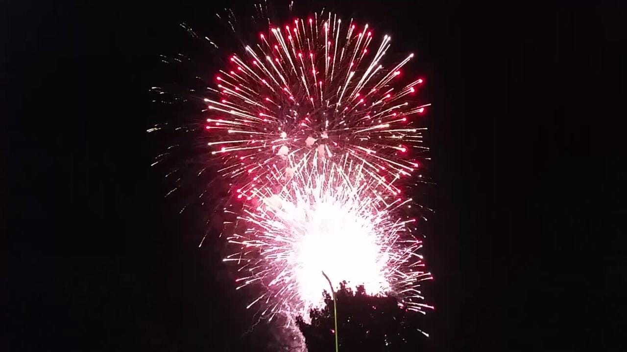See the end of the 2018 city of Las Cruces fireworks show, as seen from the Las Alturas neighborhood on Wednesday, July 4.