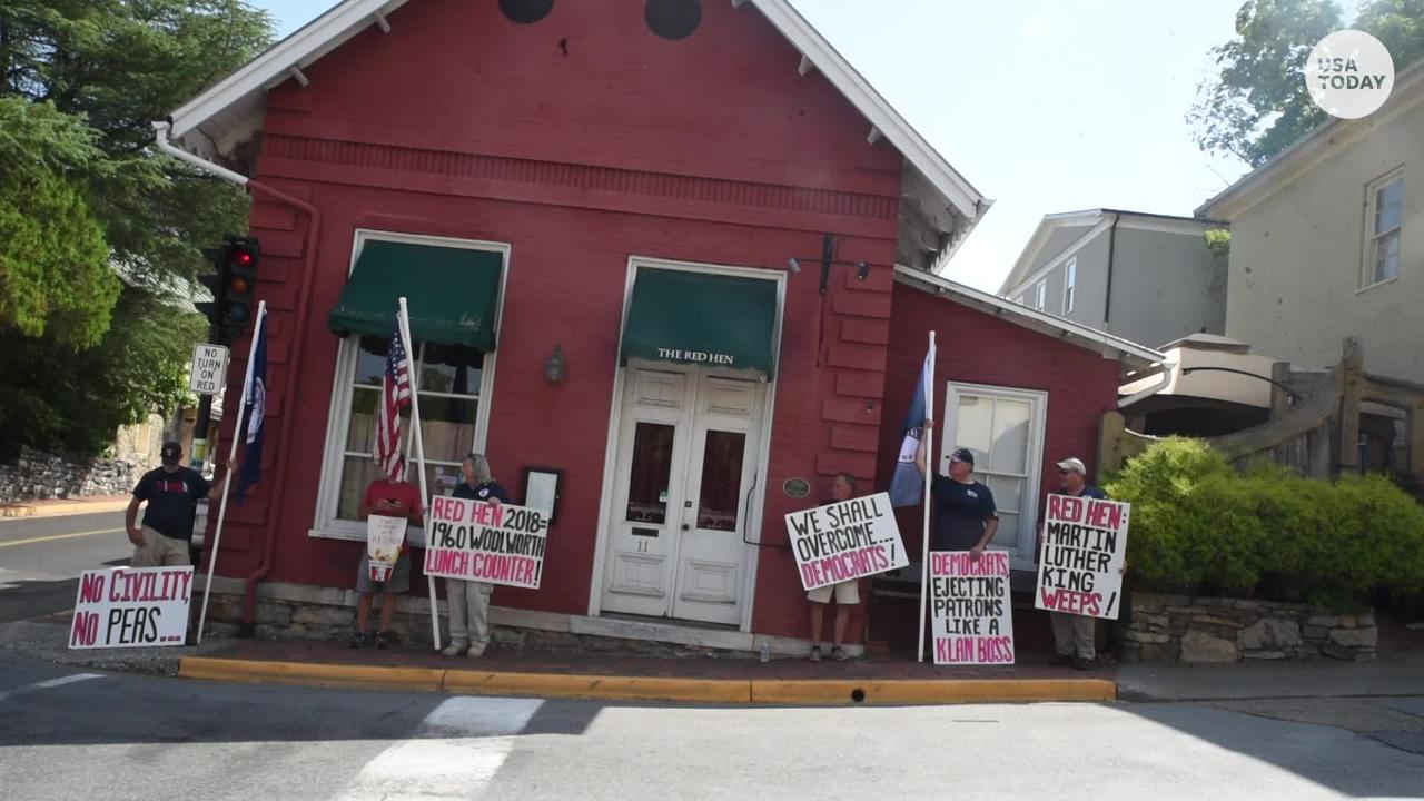 For the first time since Sanders' visit, the Red Hen opens amid protests