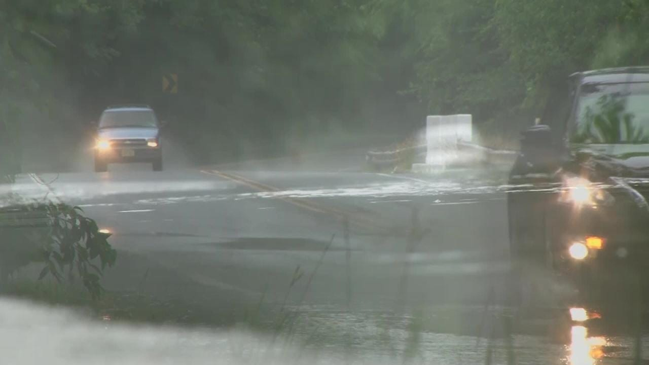 NJ Weather: Flooding on Rt 547 in Manchester
