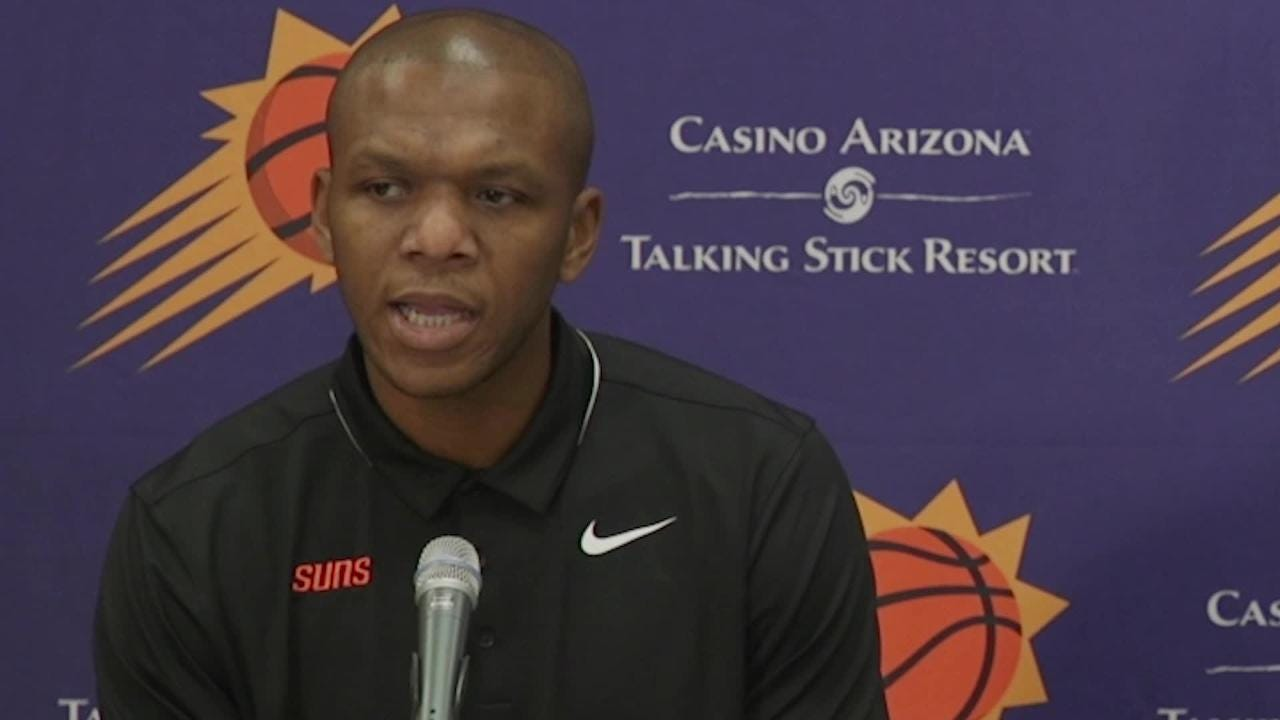 Suns VP of Basketball Operations James Jones, GM Ryan McDonough, and Trevor Ariza spoke during a news conference.