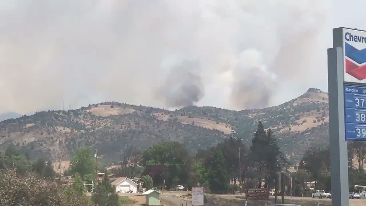 View of the Klamathon Fire from Hornbrook, a small town about 17 miles north of Yreka.