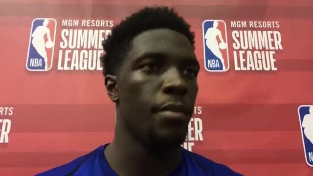 This year's second-round draft pick for the Detroit Pistons Khyri Thomas talks after team's loss in summer league.